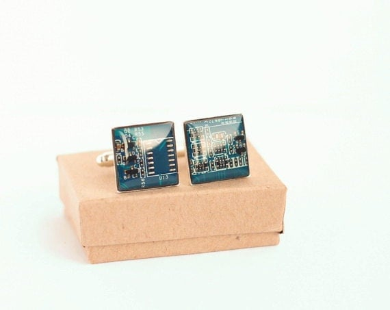 Cyber Monday Sale for him - SALE Nerdy accessories Circuit board Cuff links Geekery blue squares recycled computer b3783 ready to ship