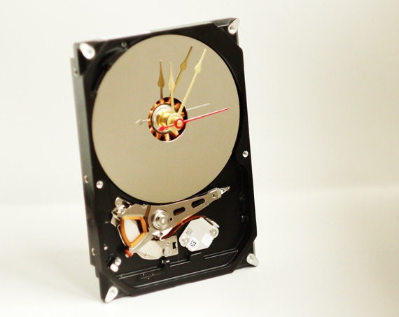 Desk clock made from a recycled Computer hard drive ready to ship cl5113