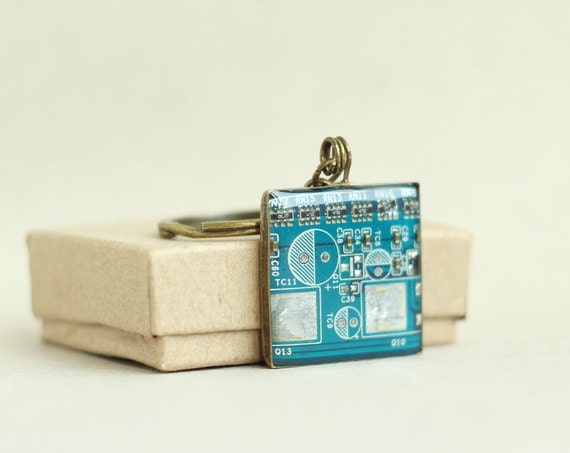 SALE Circuit board geekery keychain Blue - recycled computer b4526 ready to ship