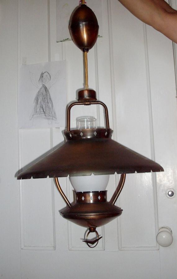 Vintage Pull Down Lamp Coppertone Mid Century Retro