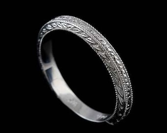 Engraved Wedding Ring, Art Deco Inspired Wedding Band, Milgrain Straight Wedding Ring, Engraved in Two Patterns Gold Wedding Ring 2.8mm Wide