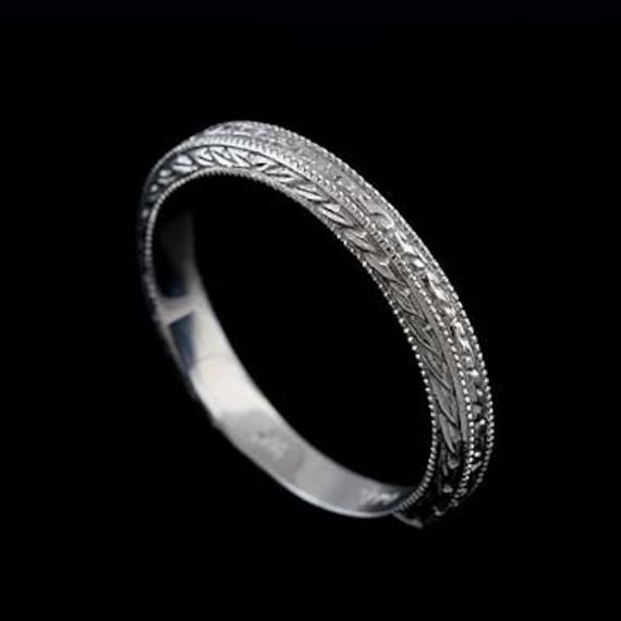 14K Solid White Gold Art Deco Style Engraved Milgrain Wedding Band Ring