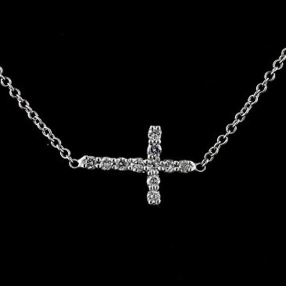 Baby Mini Diamond Sideways Cross Pendant Necklace 14K White Gold