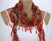 Triangle Women Scarf Cotton Scarf in Brown Cinnamon Paisley Scarf