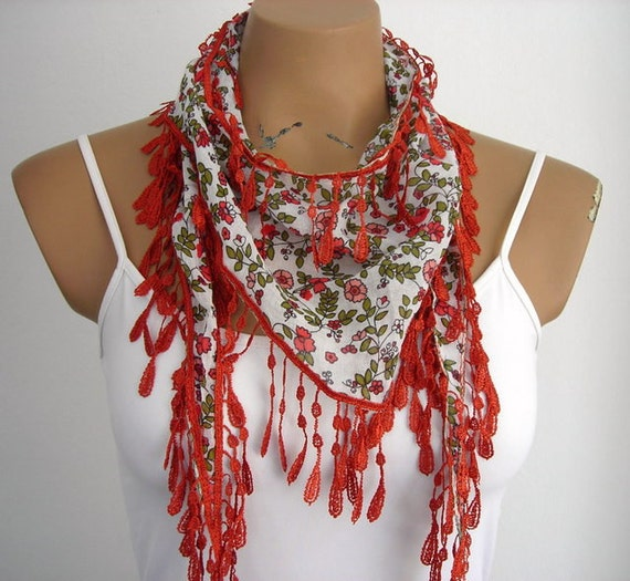 Cotton Womens Scarf Flowered Summer Scarf White Burnt Orange