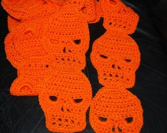Crocheted SKULL Scarf in Pumpkin Orange