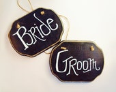 Bride and Groom Chair Signs,Chalkboard Back, Wedding Decor, Rustic Wedding, by Green Orchid Design Studio