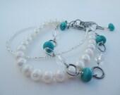 Turquoise & Pearl Triple Stranded Boho Bracelet
