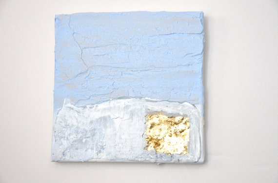 Modern contemporary gold, blue, white painting on canvas G5
