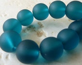 10mm Peacock Blue Matte Sea Glass Round Beads - 8 Inch Strand - Frosted Beach Glass - BE36