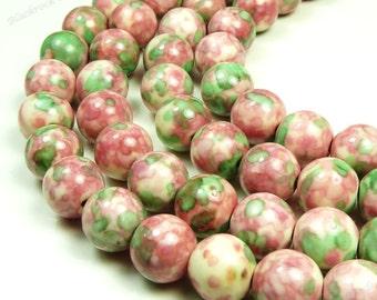 4mm Rain Flower Stone Ocean Jade Round Gemstone Beads - 15.5 Inch Strand - Green, Rose Pink - BB5