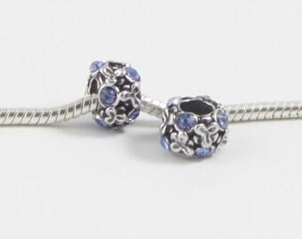 3 Beads - Blue Flower Rhinestone Silver European Bead Charm E0595