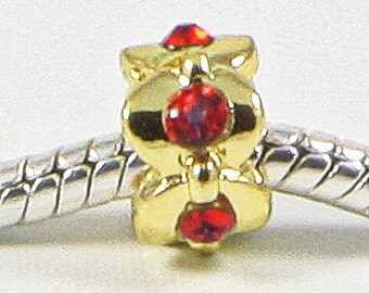 3 Beads - Red Rhinestone Gold European Bead Charm E0693