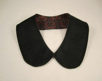 Women's deep green no wale velvety corduroy collar lined collar detachable collar