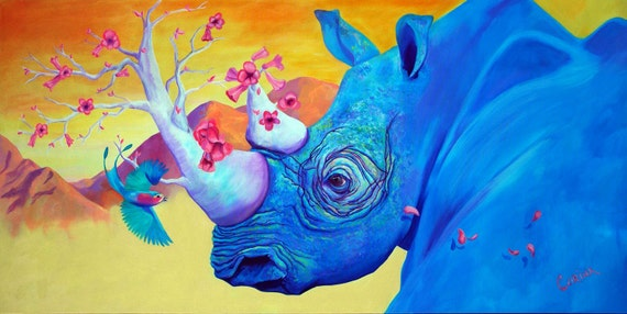 "Blue Rhino - ""Morning Song"" - Original Rhinocerous PRINT 11 x 14 - By Corina St. Martin"