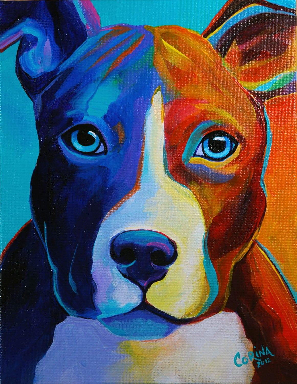 Pitbull Pup Original 7 X 9 Acrylic Painting By Corina St