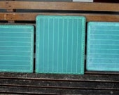 "3 Vintage Chalk Boards Green ""Super Slate"" 13X11 Lap Chalkboards by World Research"