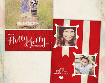 INSTANT DOWNLOAD - Christmas Card Photoshop template - Holly Kids - E556