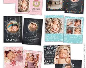 Christmas Birth Announcements- PSD Christmas Photo card template - Little gifts - E604