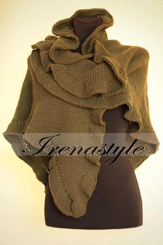 Kate Middleton style MADE TO ORDER Hand Knit Shawl Olive Green .Cashmere Three Sides Ruffled Cute Shawl, Handknit,Cuddly and soft