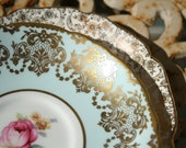 2 Vintage Saucers with Gold Filigree