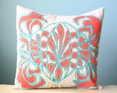 Pillow Cushion Cover Decorative Throw Linen 18x18 Floral Design Coral Orange Turquoise Teal Hand-Printed Screen Print Modern Gift Custom