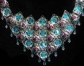 Swarovski Crystals, swarovski necklace, pink and blue necklace, silver and blue, pink and silver, fancy, bib necklace, crystal necklace
