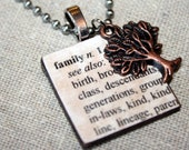 Family Defined Wooden Tile Pendant Necklace with Copper Tree Charm on Stainless Steel Ball Chain, A Great Reminder of Your Roots