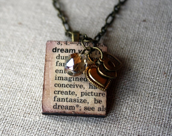 Dream Defined Wooden Tile Necklace on Antique Bronze Chain with Crystal & Antique Bronze/Brass Heart Charms, Great Gift