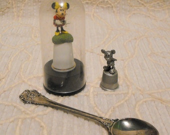 Lot of Disney MICKEY and MINNIE MOUSE Collectibles Thimbles and Silver Plated Spoon