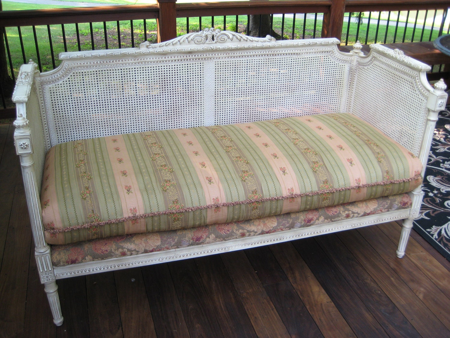 French Louis Xvi Style Cane Upholstered Daybed