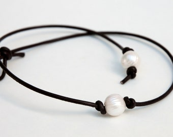 Pearl Choker, Pearl Leather Necklace, Genuine Freshwater pearl, June Birthday, BROWN Leather Pearl necklace, 16 INCH Necklace