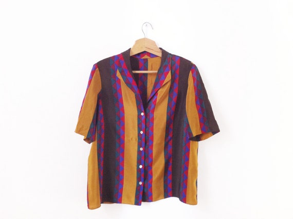Vintage Silk blouse, mustard geometric size L