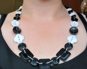 Black and White Recycled Button Necklace (One-of-a-Kind)