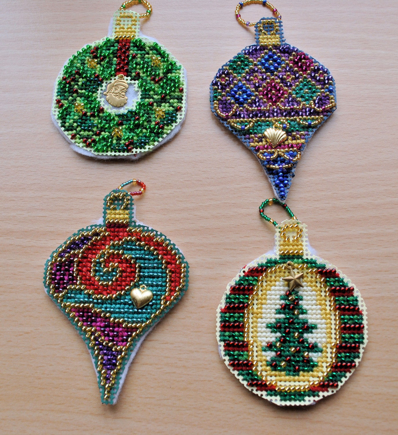 Cross-Stitch Beaded Gems Christmas Ornaments by ...