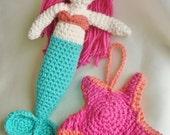 Crocheted Cotton Mermaid Plush Doll