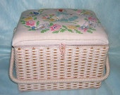 Vintage large wicker sewing basket upcycled altered Dutch girl embroidered top pink with tray