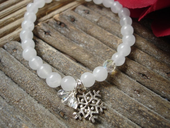 Snow Quartz Stretch Bracelet with Snowflake Charm and Crystals