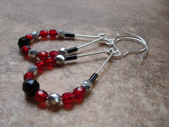 CLEARANCE Crystal Teardrop Hoop Earrings Formed by Hand, Statement Earrings with Sterling Silver Filled French Ear Wires, Red, Black, SALE