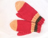 Organic Child Mittens Red Gold and Green, Vegan Knit Mitts - Tswamithreads