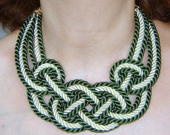 FREE SHIPPING.Forest green  and ivory sailor knot necklace. Silk rope.