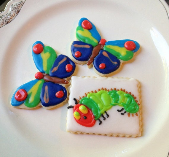 Caterpillar & Butterfly Iced Sugar Cookie Cut Outs Hungry Caterpillar Theme