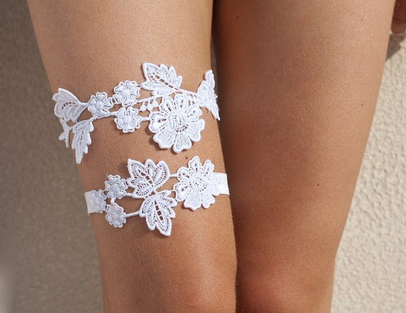 Bridal lace garter set - white floral cotton lace garters