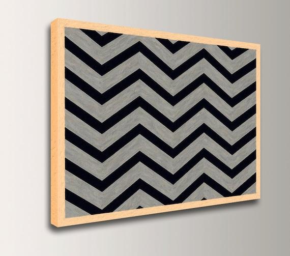 "Modern Art - Chevron - Geometric Art - Grey and Black Chevron Pattern - Print on Canvas  - Modern Wall Decor  "" Inversion """