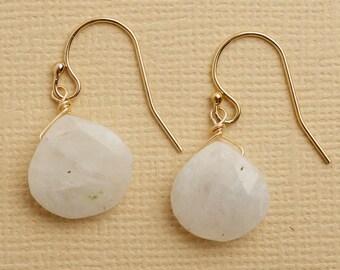 Moonstone Earrings, Moonstone Gold Earrings, Healing Gemstone Jewelry, Gemstone Drop Earringsf, June Birthstone