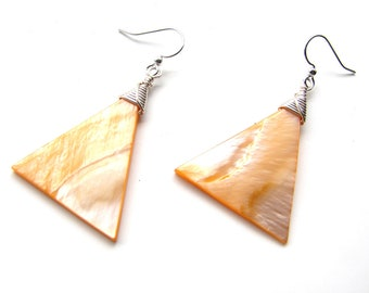 Creamsicle Orange Shell Earrings with Silver Wire Wrap/ Mother of Pearl/ Handmade