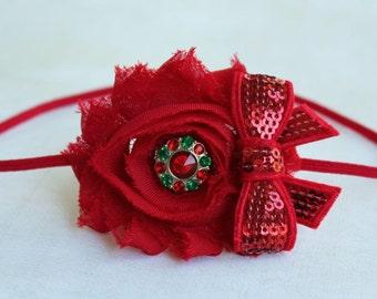 Red Chiffon flower headbands, baby headbands, newborn headbands, photography prop, christmas headbands, holiday headbands, red headbands