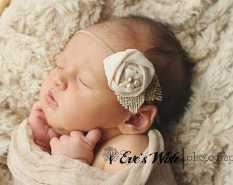 Vintage Linen and Burlap Headband, baby headbands, cream headbands, flower headbands, photography prop, rosette headbands, burlap headbands