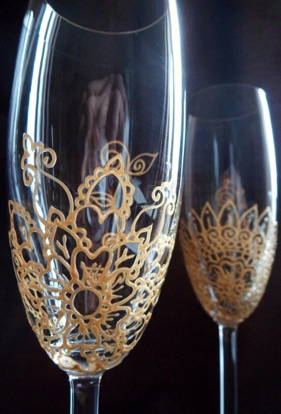 items similar to mehndi designs custom hand painted champagne flutes wedding bride groom. Black Bedroom Furniture Sets. Home Design Ideas
