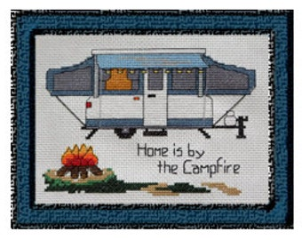 "PATTERN - Pop-Up Camper - Camping Cross Stitch  - ""Home is by the Campfire"""